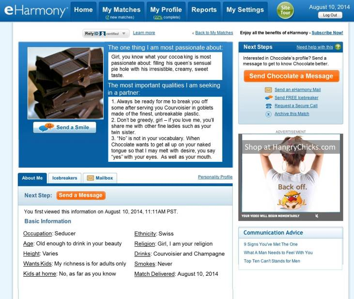 eHarmony Profile for Chocolate