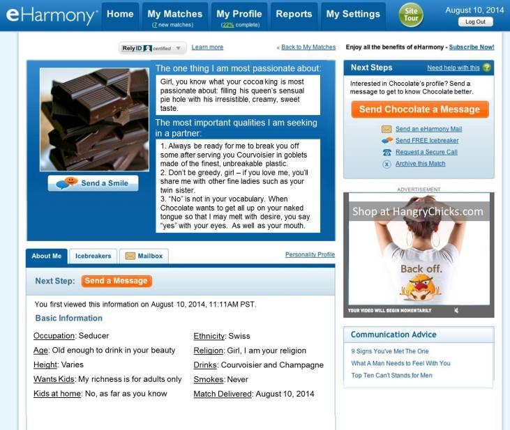 eHarmony Profile for Chocolate